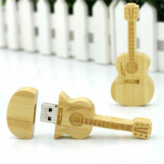 !Best qualityusb flash drive Wooden guitar USB 2.0 4GB-64GB Flash Drive thumb pendrive memory stick u disk gift/ souvenir/ S179