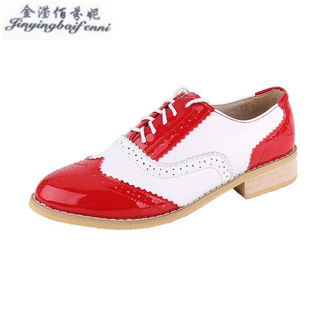 Vintage Style Britannique Oxford Chaussures Pour femmes 100% en cuir  Véritable plat chaussures femmes NOUS 41a205b21d36