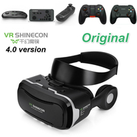 VR Shinecon 4.0 Stereo Virtual Reality Smartphone 3D Glasses Headset Google VR BOX Headphone Control Button for 3.5 5.5' Mobile