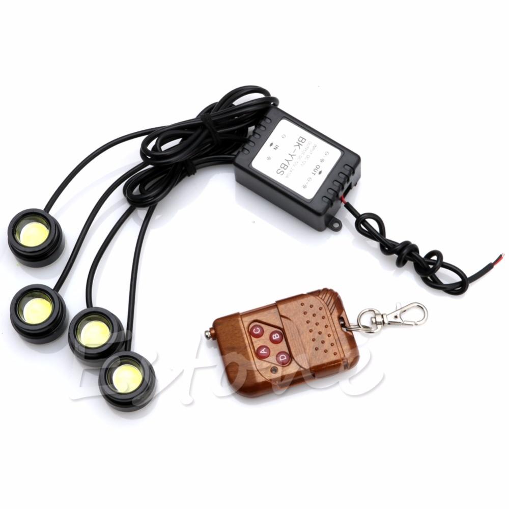 4x 1.5W Car Strobe Flash Eagle Eye Running Light DRL Daytime with Remote Control 4 High Power LED Eagle Eye lights