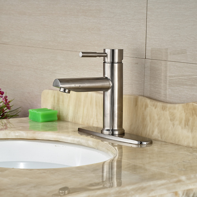 Superieur 8 Inches Hole Cover Countertop Sink Mixer Taps One Hole Vessel Sink  Bathroom Faucet Brushed Nickel