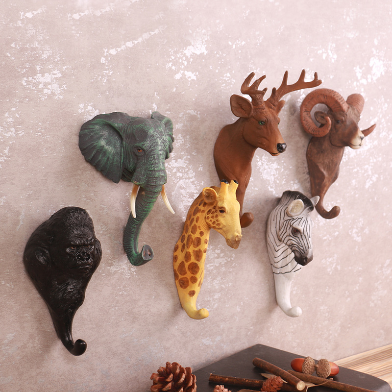 American Retro Cafe Bar Stores Wall Stereo Animals Wall Hanging Deer Creative Decorative Hooks Hats Hooks
