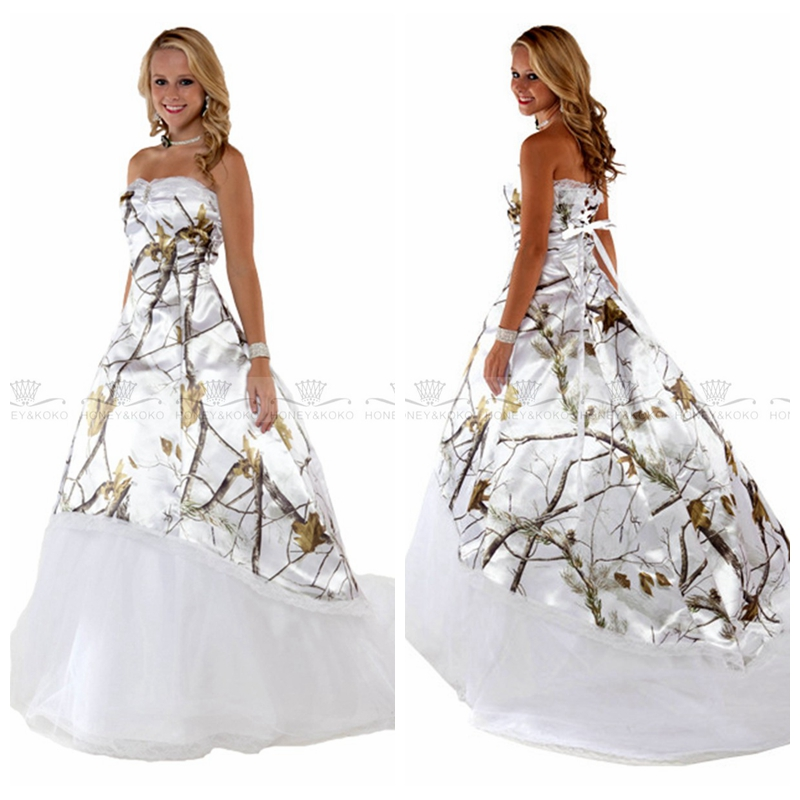 2019 Fashion 2019 New Fashion Style White Camo Real Tree Camouflage A-line Wedding Gowns Vestidos De Mariee Custom Tulle Skirt Bridal Gown Commodities Are Available Without Restriction