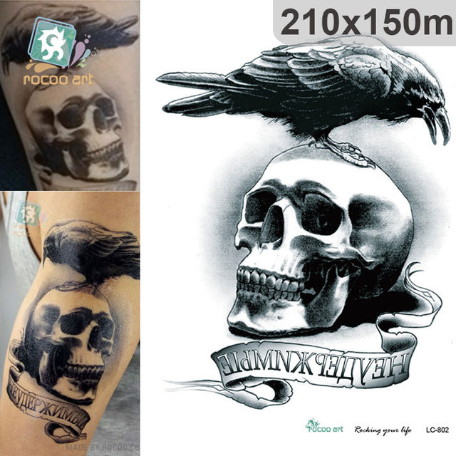 Waterproof Temporary Tattoos For Boy Men Dark Crow Skull Death Squads Design Large Tattoo Sticker LC2802