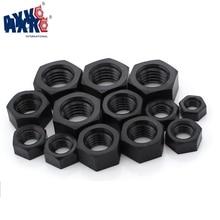AXK 50Pcs DIN934 M2 M2.5 M3 M4 M5 M6 M8 M10 M12 Black Nylon Bolt Nylon Hex Nut Hexagon Plastic Nuts peng fa din934 m2 m2 5 m3 m4 m5 m6 m8 m10 pa66 nylon hex nut hexagon plastic hex nuts