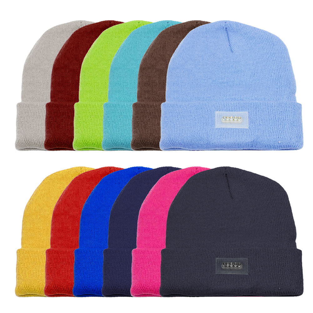 5 LED Light Hat Outdoor Winter Thermal Knitted Hat For Fishing Hunting Camping Running Caps Knitting Woolen Hat With USB