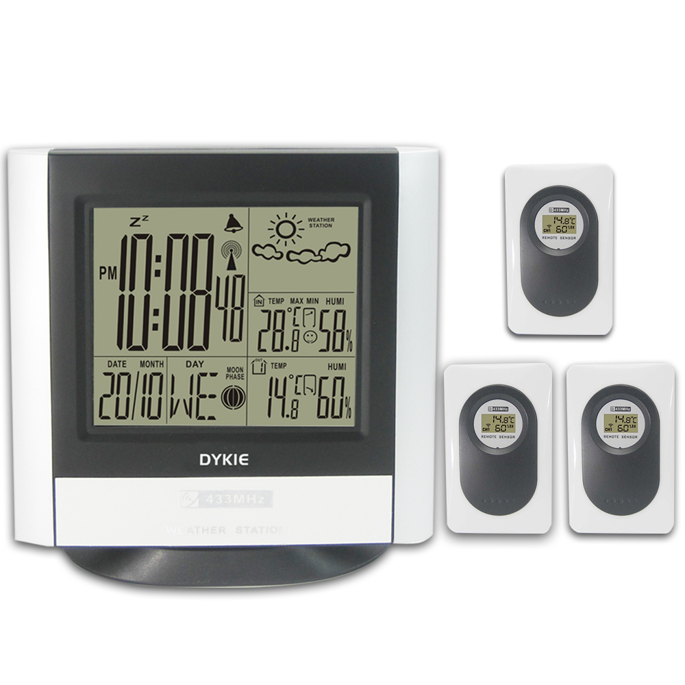 DYKIE 433MHz Wireless Weather Station Indoor Outdoor Digital Thermometer Hygrometer LCD Alarm Clock Temperature Humidity Meter цена и фото