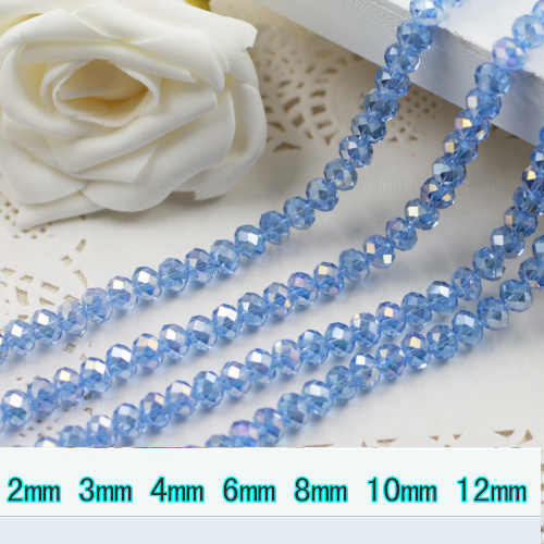 5040 AAA คุณภาพสูง Light Sapphire AB สีหลวมคริสตัล Rondelle beads.2mm 3 มม. 4 มม., 6 มม., 8 มม. 10 มม., 12 มม. จัดส่งฟรี!