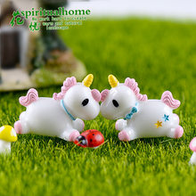 Unicorn Moss Micro Landscape Decoration Decorative Dolls, Lovely Unicorn Resin Materials, Creative Handicrafts Garden Decoration(China)