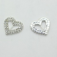 New Arrival 10pcs/LOT 25mm Rhinestone Heart Shape Buckles Diamond Buckle Wedding Supply Decoration Wedding Invitation Factory