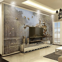 3D Wallpaper Stereo Golden Relief Figure