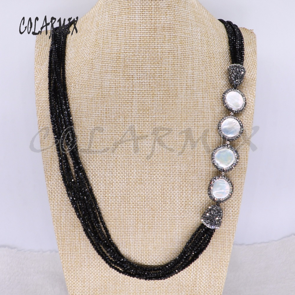 6 Strands natural pearl necklace big chain handcrafted necklace beaded chain wholesale jewelry boho necklace 3957