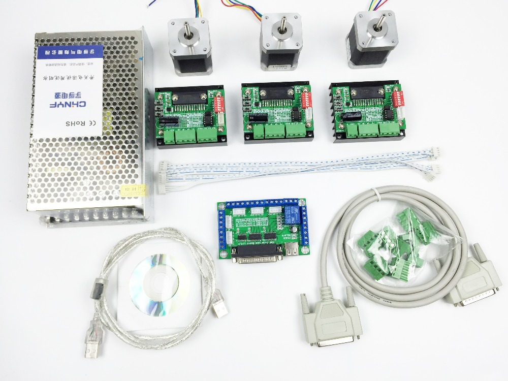 CNC Router mach3 3 Axis Kit, 3pcs TB6560 driver + 5 axis stepper motor controller + 3pcs nema17 1.8A motor + 24V power supply 3pcs i9300 power supply ic max77686
