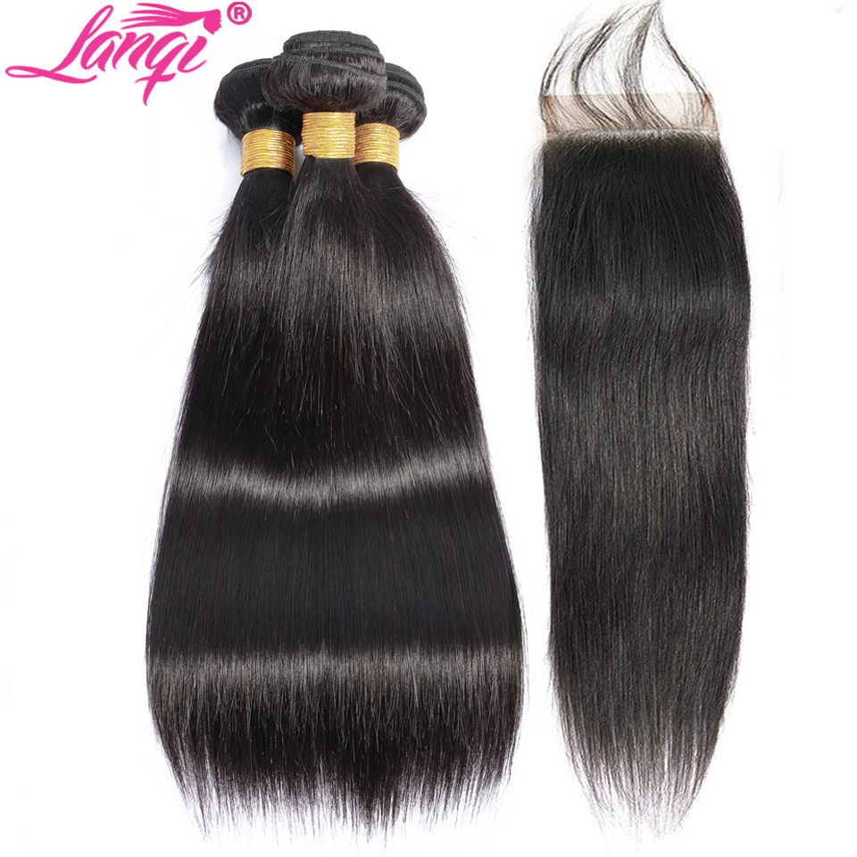 Brazillian Straight Hair Bundles With Closure Non Remy Human Hair Weave Bundle With Closure 28 30 32 Inch Bundles With Closure