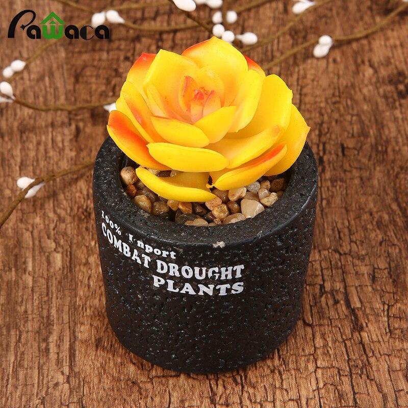 Mini Flowerpot PVC Succulent Plant Pot Lotus Landscape Flower Bonsai real touch Green Fake Plants For Home Office Decoration