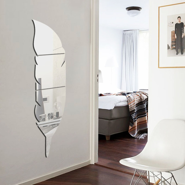 Fundecor 3d Feather Dressing Mirror Wall Stickers Home Decor Plastic Decals Bedroom Bathroom