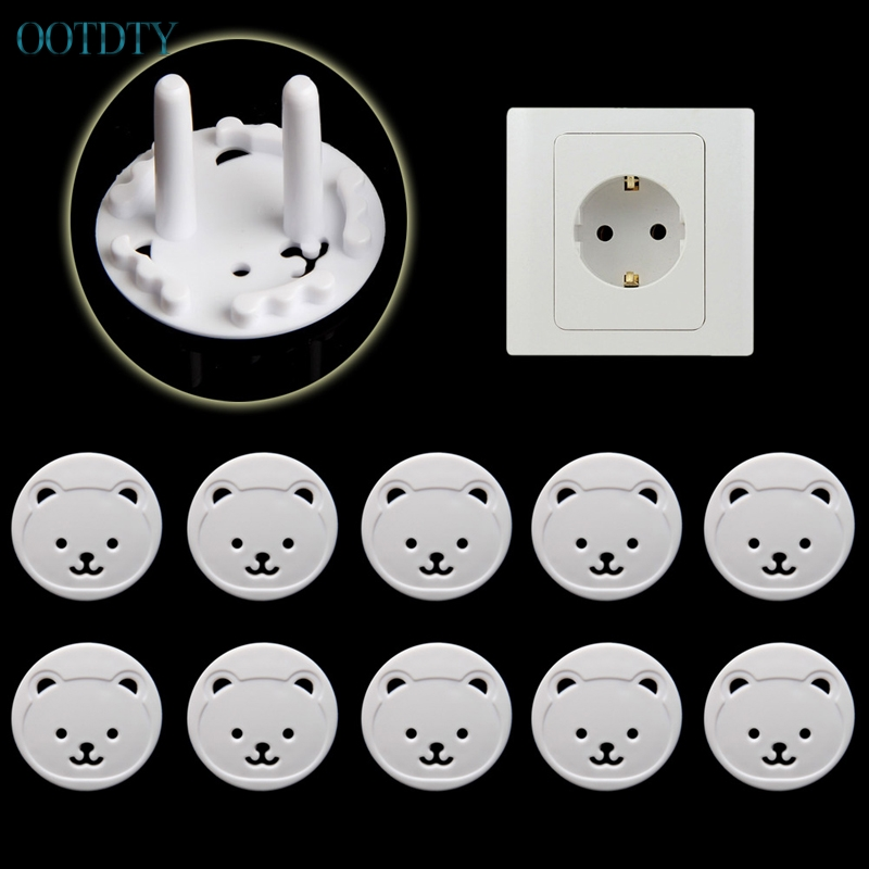 10pcs Bear EU Power Socket Electrical Outlet Baby Kids Child Safety Guard Protection #330