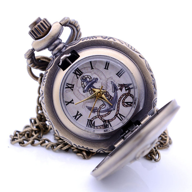 Small Size The Rudder Anchors Quartz Pocket Watch Mens Necklace Chain Pendant An