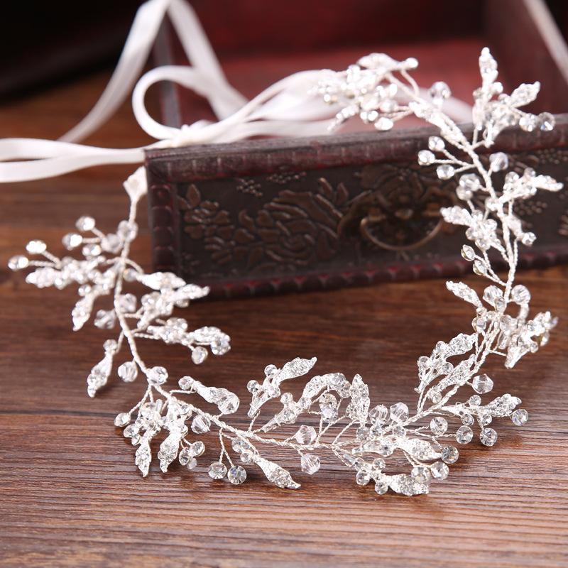 Ornament Wedding-Hair-Accessories Jewelry Headpiece Crystal Headband Bridal-Tiara Leaf