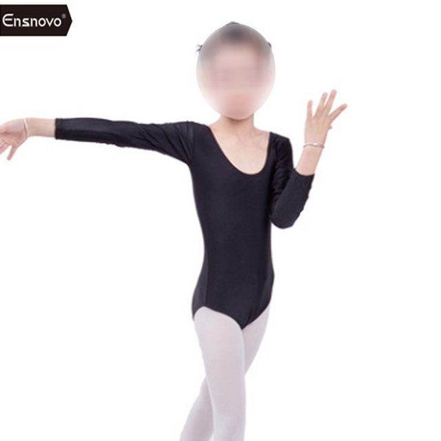 Ensnovo Children Gym Costumes Girls Ballet Bodysuit Children Black Dance  Leotard Long Sleeve Gymnastics Wear Children c1852e07fc00