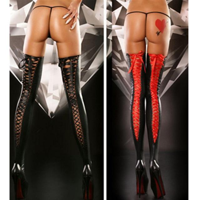 Couro Sintético de alta Qualidade Látex Sexy Meias Longas Bandagem Fita Meias Elevadas Da Coxa Lotação Clubwear Fetiche Desgaste Preto Vermelho