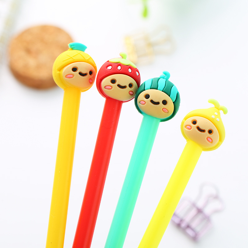 1 Pcs Korean Stationery Creative Cute Fruit Girl Modeling Neutral Pen Cartoon Black Signature Pen Student Wholesale