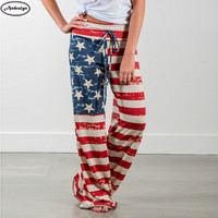 Summer Women Fashion Independence Day Flag Striped Loose Pants Casual Long Trousers