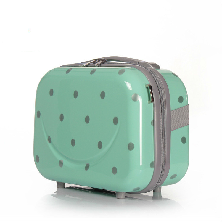 14 Inch Fashion Lovely Makeup luggage Accessories Polka Dot Cute Cosmetic Make up travel ...