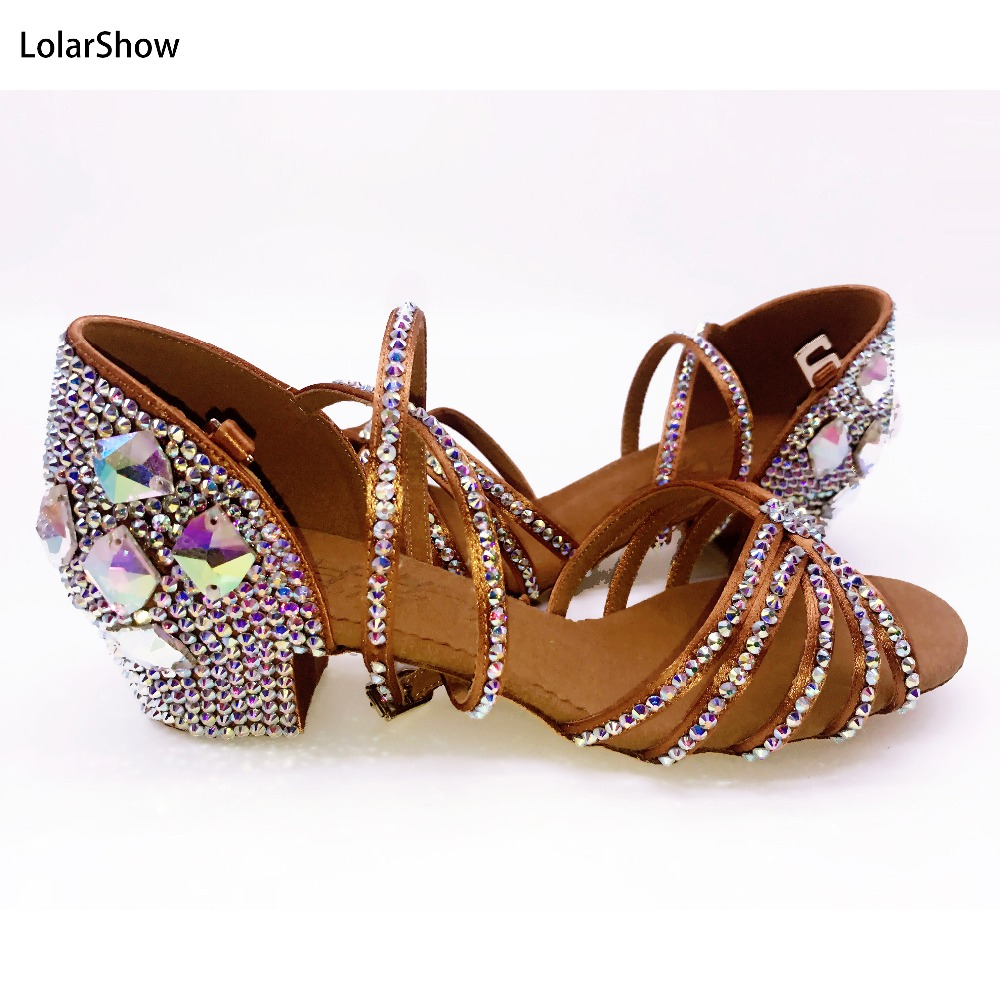 Kids Girl Latin Dance Shoes  Rhinestone Salsa Dance Shoes For Girl