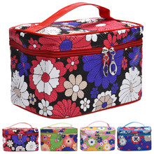 Portable Square Sunflower Cosmetic Bag , High Quality Travel Wash Bag Women Makeup Bag