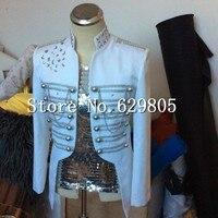 Мода 2017 плюс Размеры индивидуальные камни куртка Для мужчин для сцены одежда бисера погон Пальто; костюм цепи ночной клуб певец блейзер