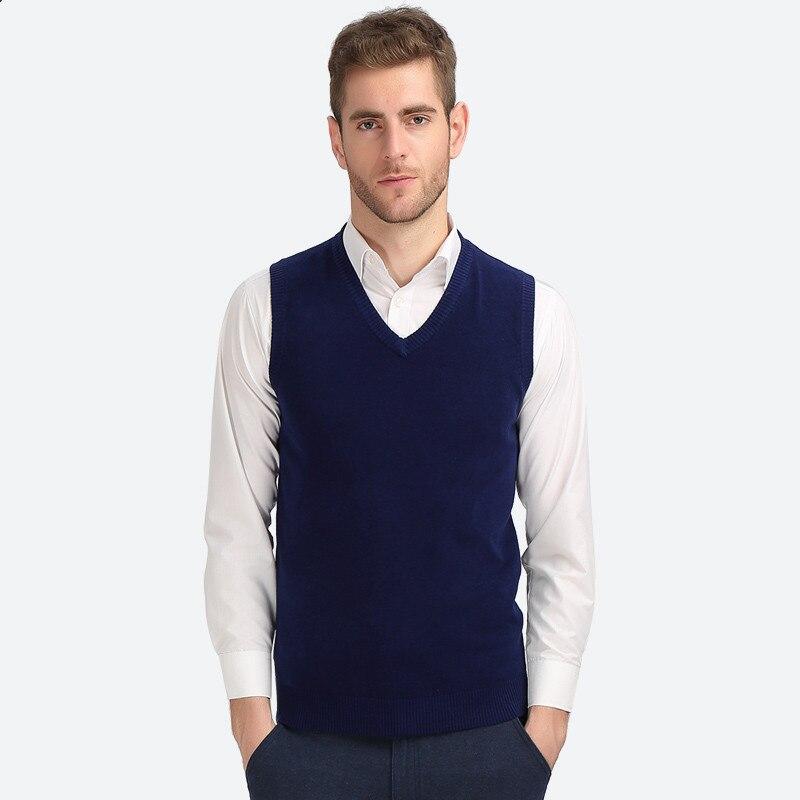 Liefern 2019 Neue Ankunft Einfarbig Pullover Weste Männer Kaschmir Pullover Baumwolle Pullover Männer Marke Schlank V-ausschnitt Ärmelloses Jersey Hombre