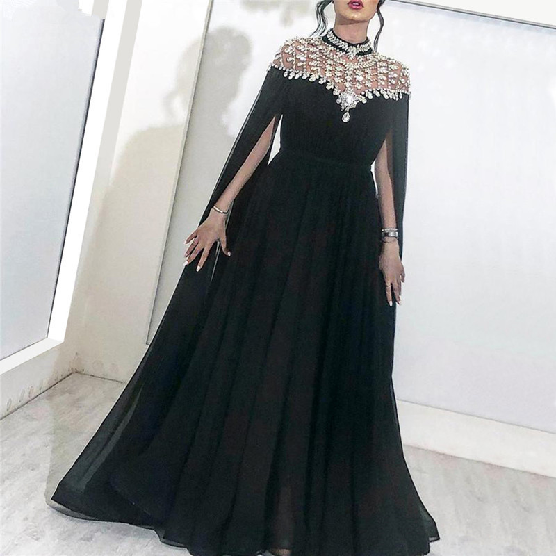 Black Muslim Evening Dresses 2019 A-line Chiffon Beaded Crystals Plus Size Islamic Dubai Saudi Arabic Long Formal Evening Gown
