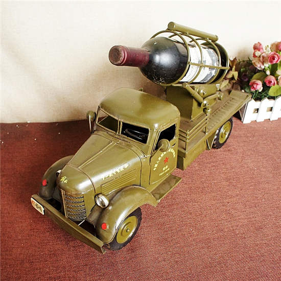 Vintage tin military car wine rack model home furnishing metal crafts gifts fans home decoration Christmas