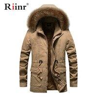 Riinr Winter Parka Men Coats 2019 Thick Warm Jacket Men Cotton Hooded Outwear Warm Coat Top Plus Velvet Couple Cotton Parka Coat