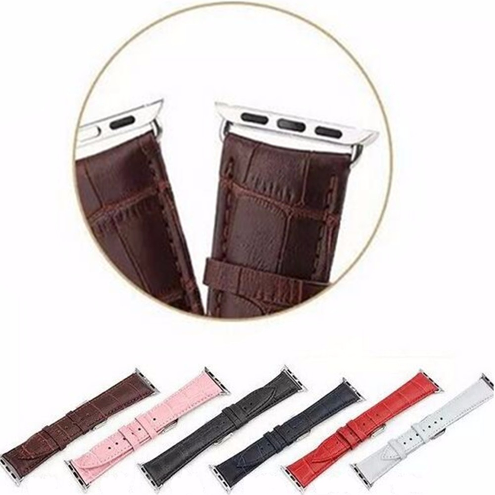 CRESTED Sport Genuine Leather watch strap band For Apple Watch 3 42mm 38mm Link Bracelet watchband for iWatch 3/2/1 belt woven canvas casual sports watch band iwatch strap genuine leather watch belt for apple watch