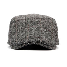 2018 Spring  Autumn  Men Cap Hats Berets British Western Style Wool Advanced Flat Ivy Cap Classic Vintage Striped Beret Cap