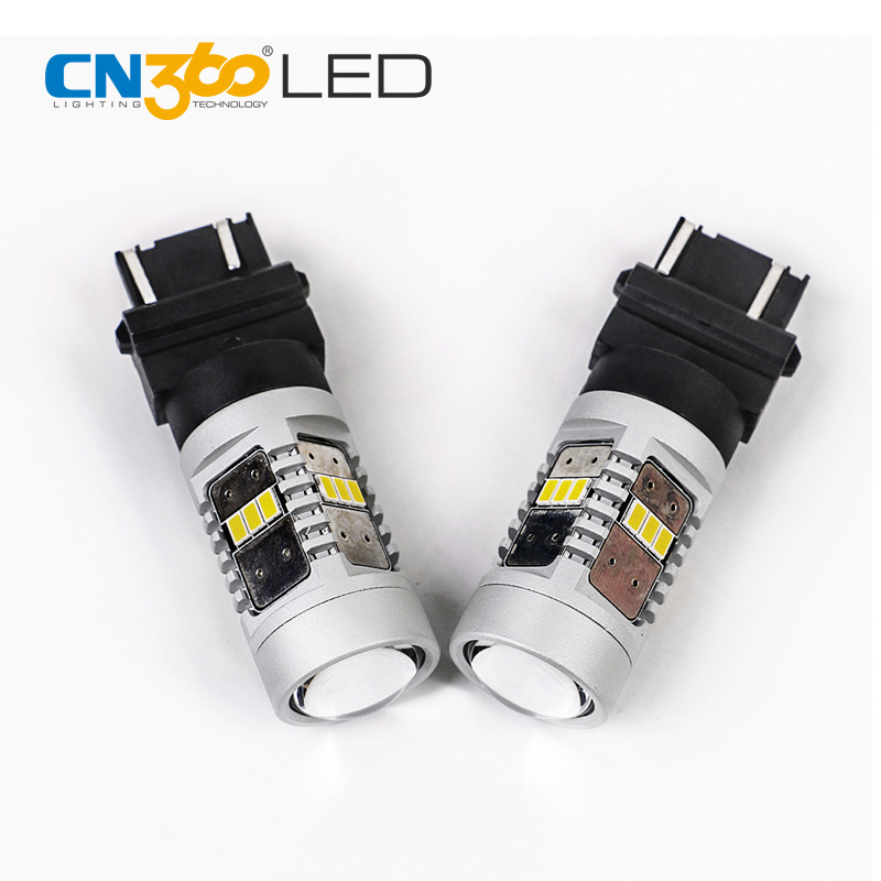 CN360 2PCS 3020 14SMD 3157 LED Brake Light White Car Signal Bulb 12V 28W 780LM Good Heat Dissipation No Glare Smaller Size ...