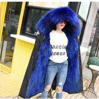 2019 new fashion women luxurious Large raccoon fur collar hooded coat warm Fox fur liner parkas long winter jacket top quality