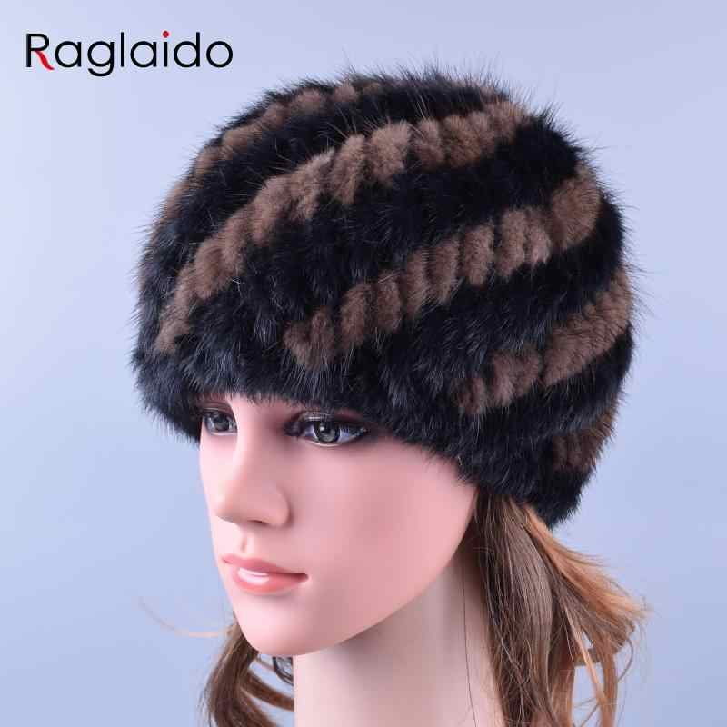 fb2bc8af83e74 ... Raglaido Knitted Mink Fur Hats for Women Genuine Natural Fur Pineapple Cap  Winter Snow Beanie Hats ...