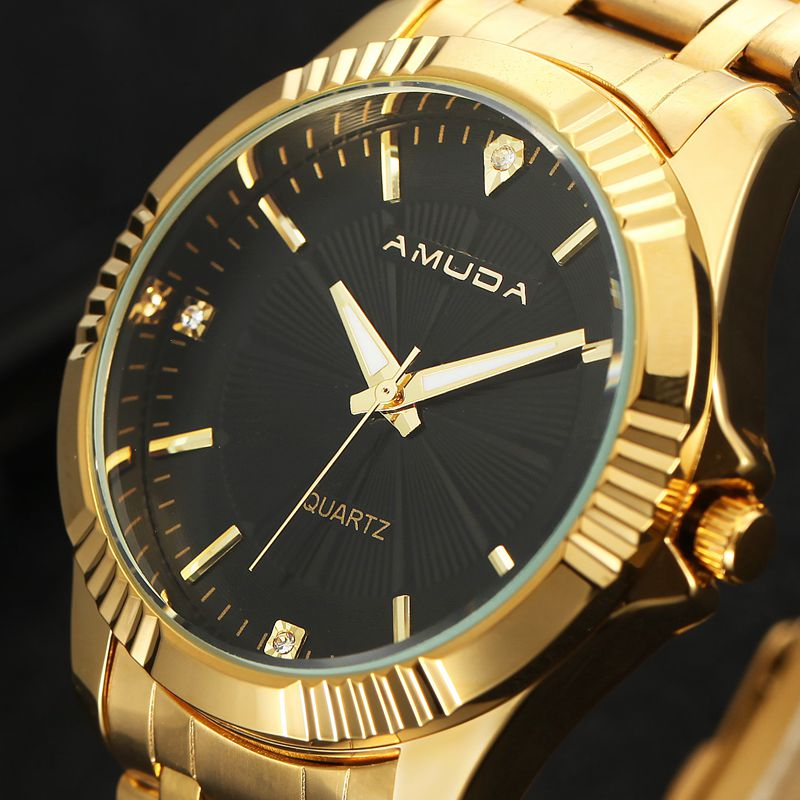Amuda Gold Men Watch Luxury Brand Wristwatch Full Steel Rhinestone Mens Watches Waterproof Quartz-Watch Relogio Masculino 2017 woonun top famous brand luxury gold watch men waterproof shockproof full steel diamond quartz watches for men relogio masculino