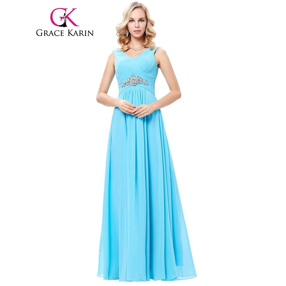 ᐊGrace Karin Shoulder Straps V Neck Chiffon Long Bridesmaid Dresses ...