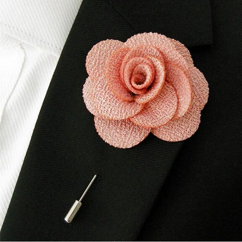 Completely new Men Brooch Flower Lapel Pin Suit Boutonniere Fabric Yarn Pin  GT52