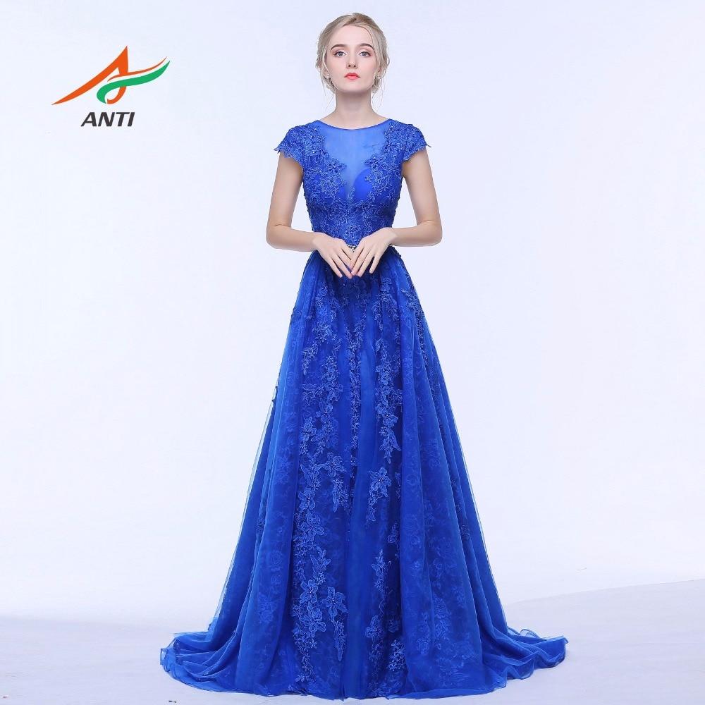 ANTI Royal Blue Mermaid Aftonklänning O-Neck Lace Två Stycken - Särskilda tillfällen klänningar - Foto 2