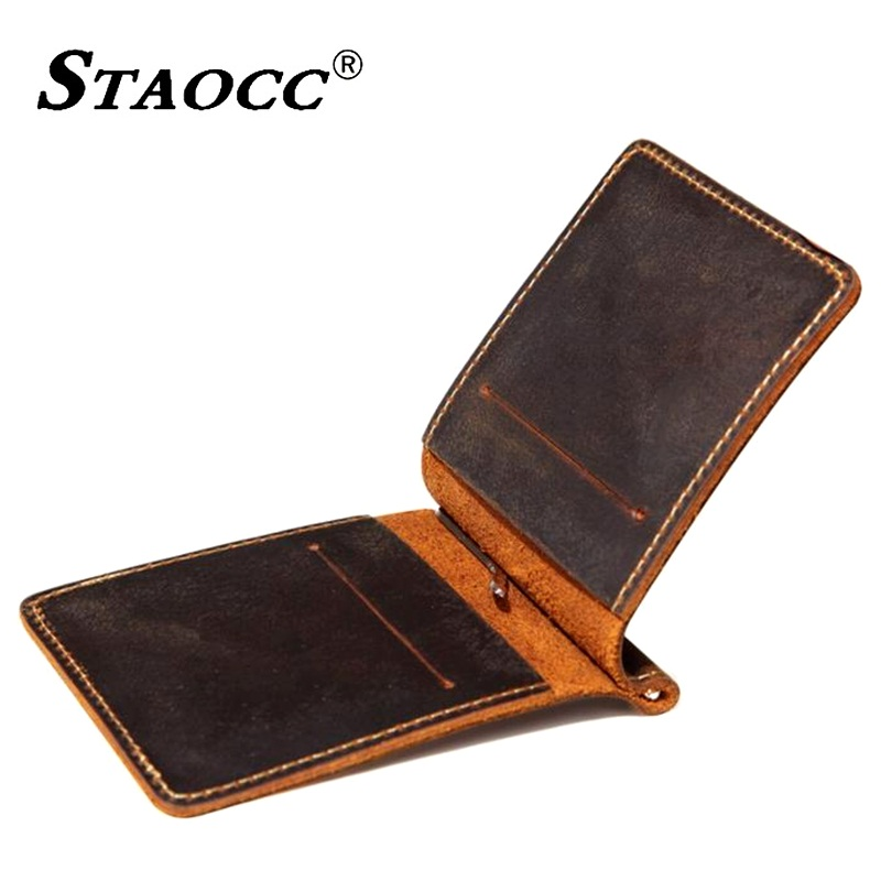 Men Money Clip Genuine Leather Wallet Vintage Slim Purse Business Credit Card ID Holder Thin Money Card Clip Male Cowhide Wallet etya men s wallet genuine leather short man folding cowhide wallet male multifunctional credit id card coin purse money bag