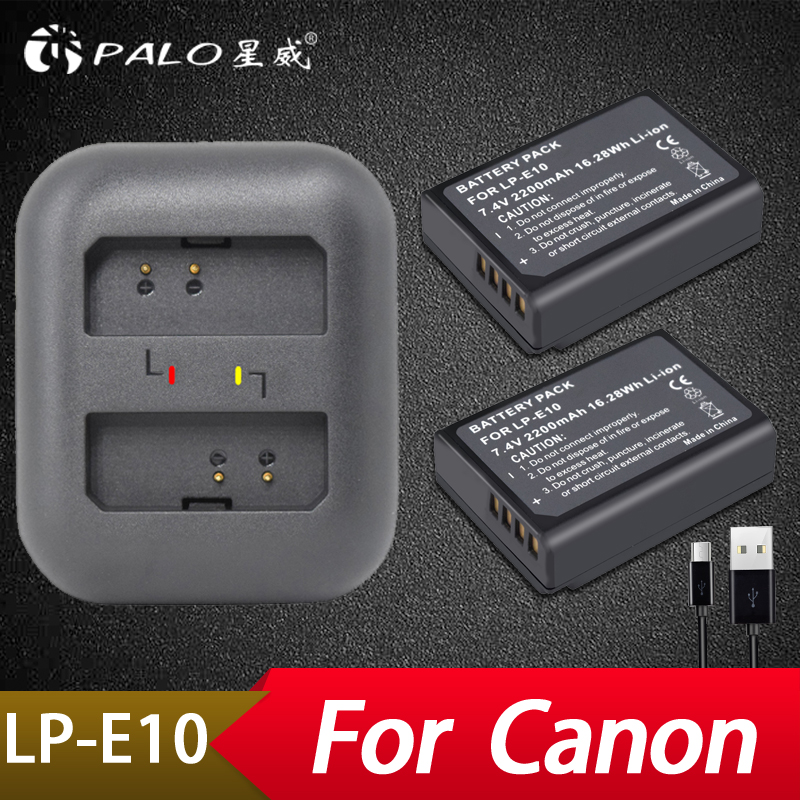 Palo 2 pcs LP-E10 LP E10 LPE10 Caméra Batteries + LED USB Double Chargeur pour Canon 1100D 1200D 1300D Baiser x50 X70 X80 Rebelles T3 T5 T6
