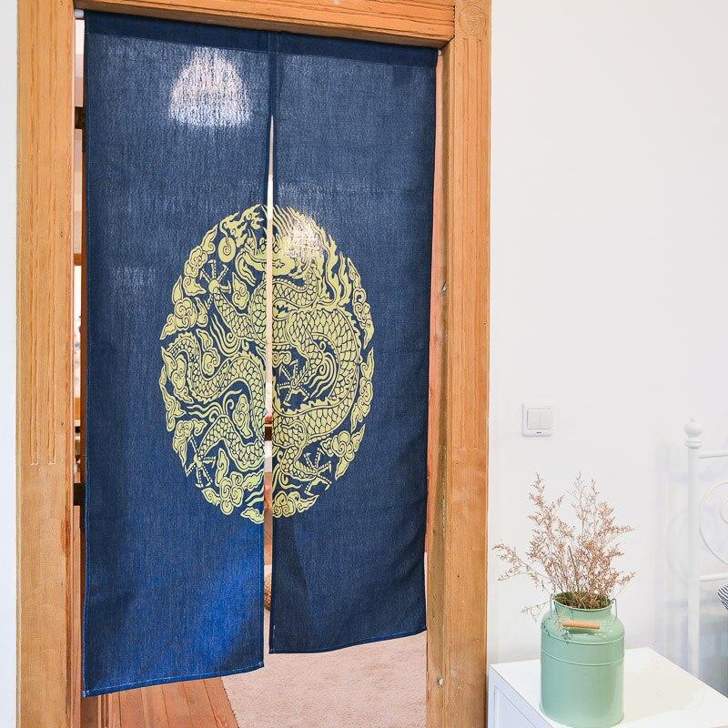 Beaux rideaux chinois traditionnel dragon totem porte curtian bleu porte rideau Fengshui rideau pour chambre