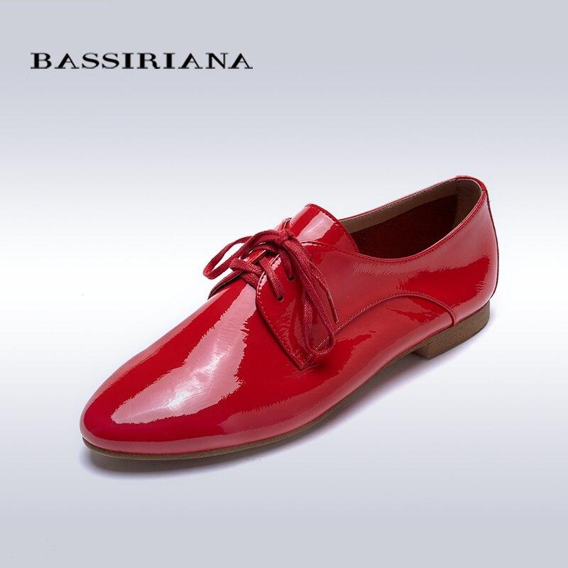 ФОТО Flats shoes woman Patent leather Round toe Basic model Red yellow Blue Silver Sheepskin 35-40 Free shipping BASSIRIANA