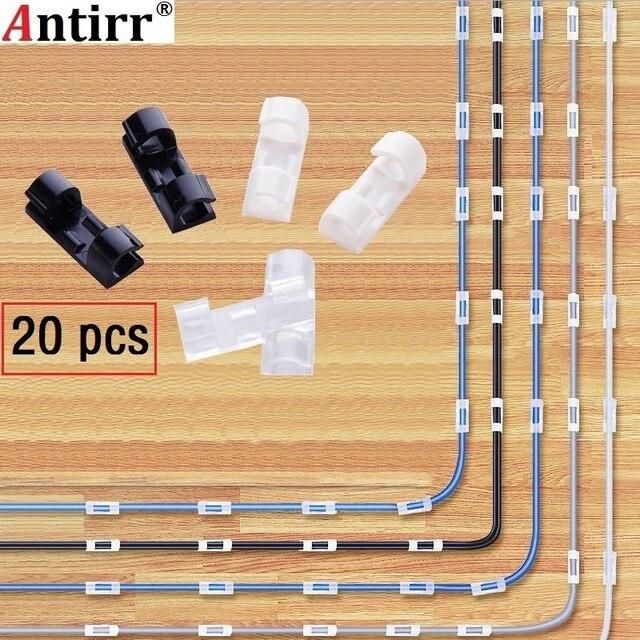 20 cái Cuộn Cáp Clip Dính Sạc Clasp Bàn Dây Cord Tai Nghe Đường Dây Điện Thoại Tie Fixer Organizer Xe Tường Kẹp chủ