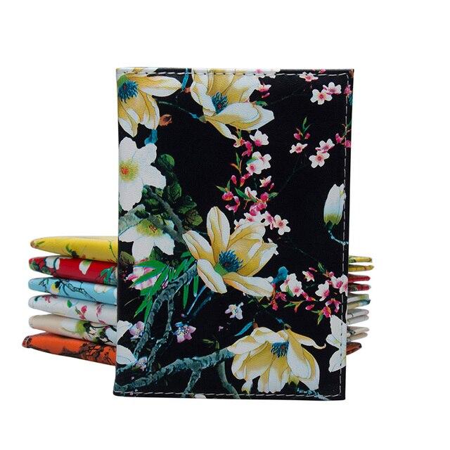 Марка Качество с цветочным принтом на паспорт сумка мода путешествовать Обложка для паспорта для Для женщин Pu кожа Обложка для паспорта кошелек